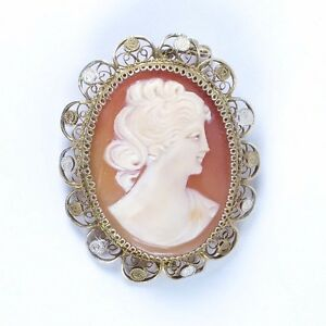 774fe991a9526 Vtg shell cameo 800 silver filigree gold vermeil carved Victorian ...