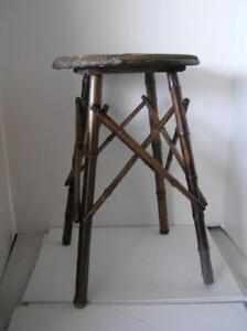 Victorian-England-Bamboo-Stool-with-4-cross-Legs-woven-seat-RARE