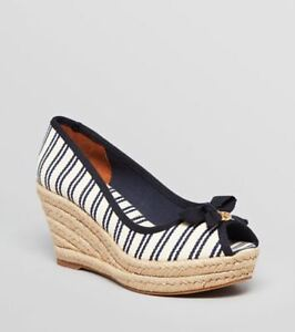 9c50e81fe754 Image is loading Tory-Burch-Jackie-Wedge-Espadrille-Striped-Sandal-Ivory-