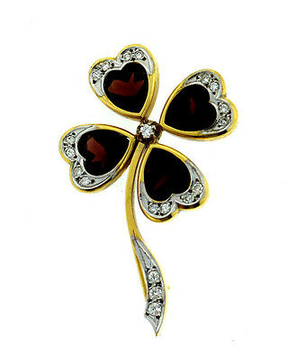 18K YELLOW GOLD DIAMOND GARNET CLOVER PIN BROOCH C.1960 VINTAGE GORGEOUS