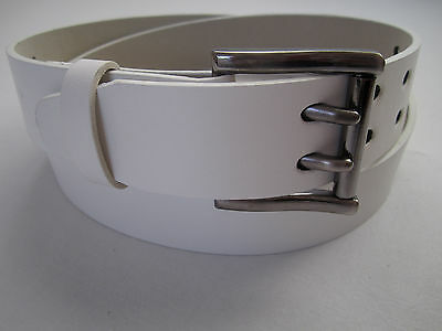 Mens 2 Double Holes Dress Casual Leather Belt 2-Prong Roller Removable Buckle