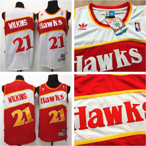 Retro Dominique Wilkins #21 Atlanta Hawks Basketball Jersey Stitched White Red