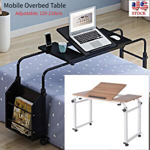 Adjustable Mobile Overbed Table Rolling Laptop Cart Bed Computer Desk Hospital