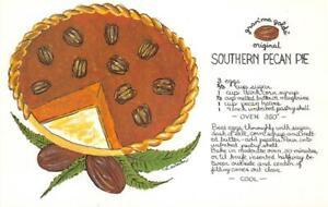 SOUTHERN-PECAN-PIE-Dessert-Recipe-Gran-039-ma-Golds-ca-1960s-Florida-Postcard