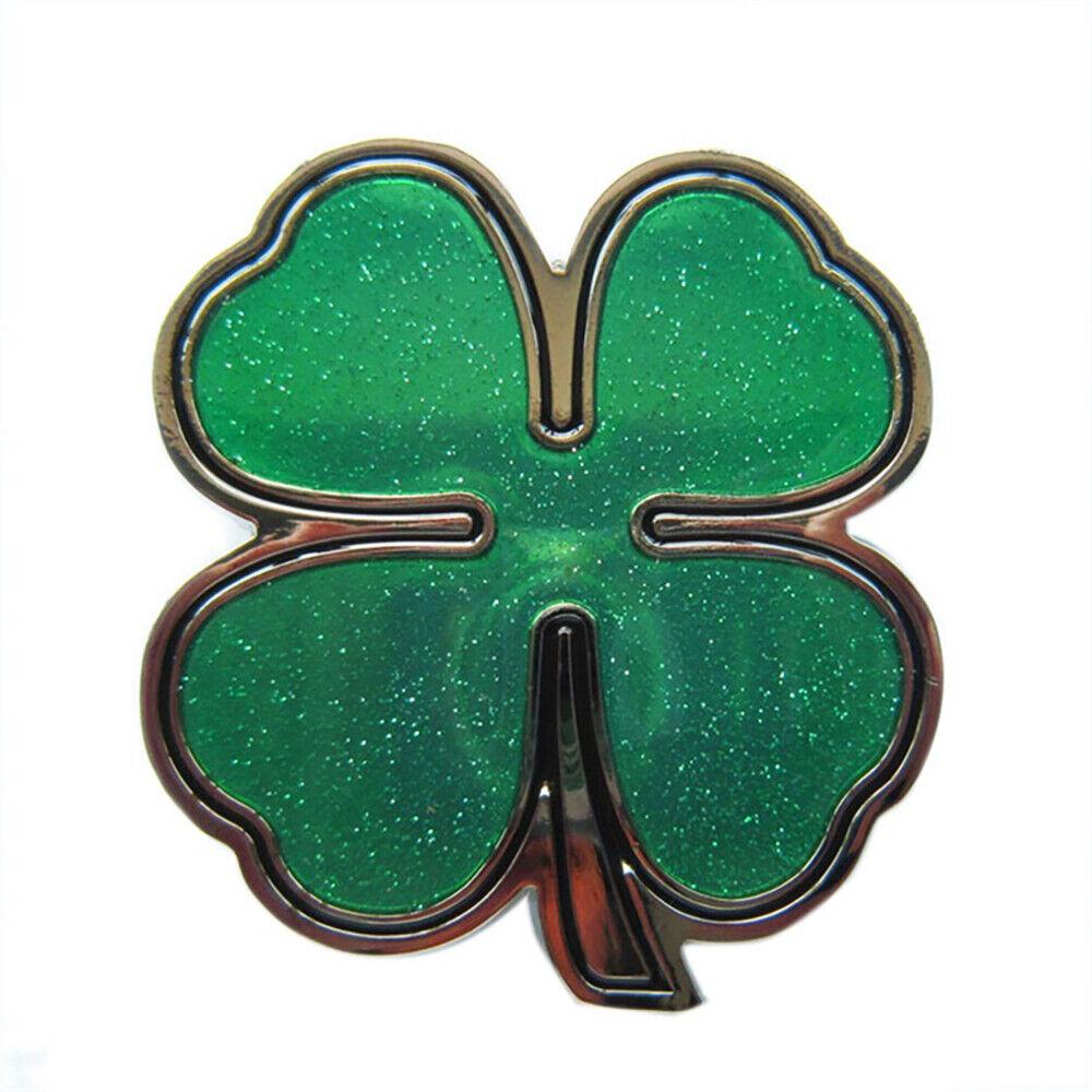 Four-Leaf Clover Belt Buckle Poker Gambler Casino Cloverleaf Shamrock Luck Dices