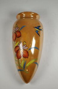 VINTAGE-LUSTERWARE-URN-WALL-POCKET-VASE-MADE-IN-JAPAN-HAND-PAINTED