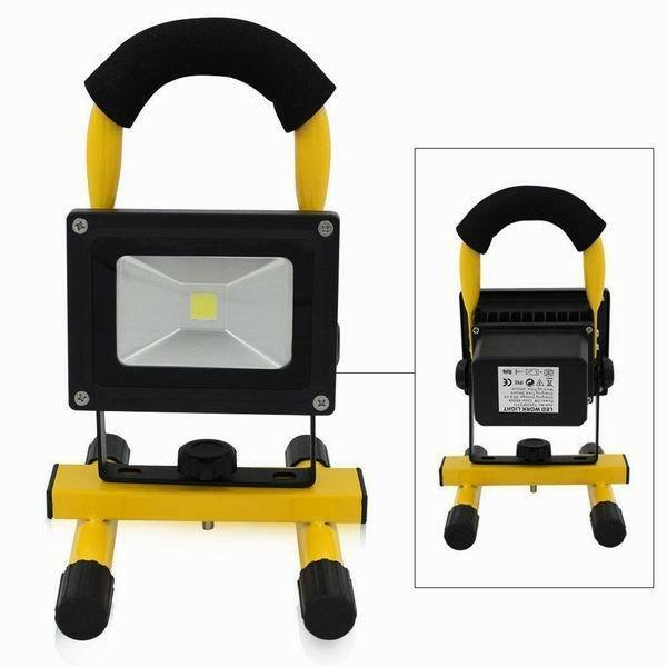LED Akku Strahler 10W Handlampe Arbeitsleuchte Baustrahler IP65 Fluter Baulicht