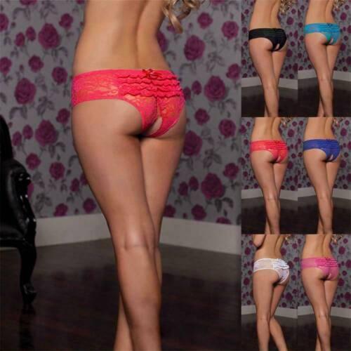 Floral Briefs Underwear Lingerie G-string Panties Women/'s Lace Crotchles Thongs~