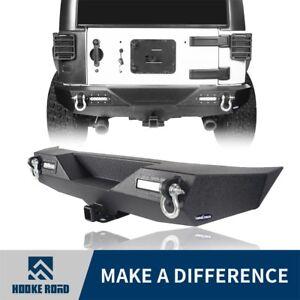 Hooke Road Rear Bumper Bar w/ LED Lights + D-Rings Fit 07-18 Jeep Wrangler JK