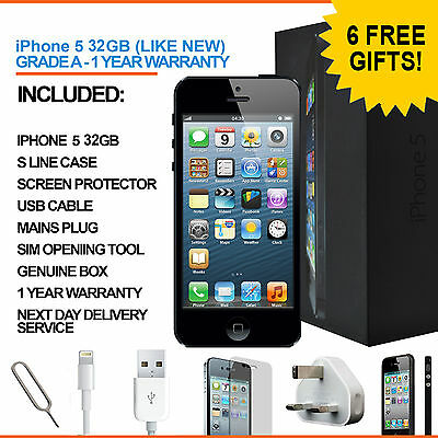 Apple iPhone 5 32GB Black Factory Unlocked Grade A with Accessories