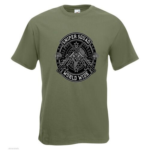 Sniper Squad Mens PRINTED T-SHIRT Text Crest Guns World Wide