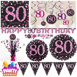 Pink Sparkling Celebration 80th Birthday Party Tableware Decorations