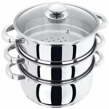 3 TIER 22CM STAINLESS STEEL MULTI STEAMER VEG COOKER POT PAN SET WITH GLASS LID