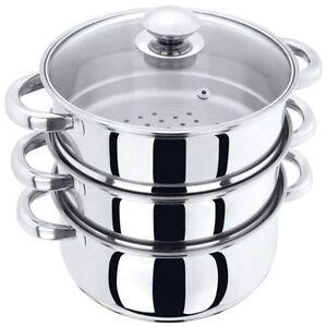 Acier-Inoxydable-22-cm-Multi-Cuiseur-vapeur-3-etages-legumes-cuisiniere-Pot-Pan-Set-avec-couvercle