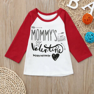 53a3ac4e5229d Details about Toddler Baby Boys Girls Valentine's Day Clothes Letter  Printed Tops T-Shirt US