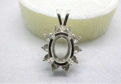 6x4mm - 16x12mm Emerald Cluster Solid Sterling Silver Pendant Setting