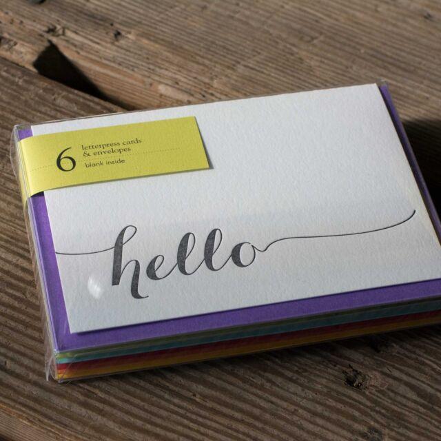 Hello Letterpress Cards, Set of 6
