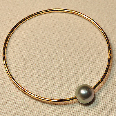 Gold Vermeil 11.5mmx11.8mm Peacock Tahitian Pearl 12 Gauge Bangle SIZE 7