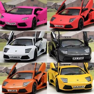 PERSONALISED-PLATES-Gift-Lamborghini-Boys-Toy-Car-Diecast-Present-6-Colours-New