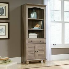 Sauder 419911 Harbor View Library Bookcase With Doors In Salt Oak Finish New