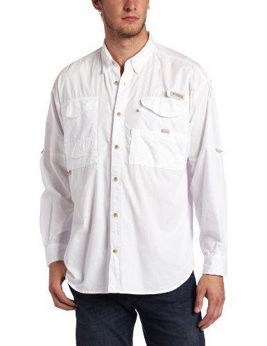 NEW Columbia Mens Bonehead Long Sleeve Fishing Shirt White Large FREE SHIPPING