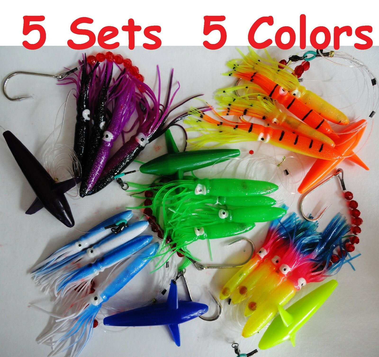 5 Sets DAISY CHAIN BAIT RIG BULB SQUID & BIRD TUNA MARLIN TROLLING LURES-RANDOM