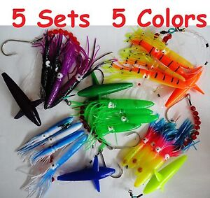 Purple Squid Daisy Chain Bait Rig Bird Trolling Lure squid Tuna