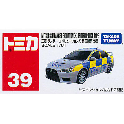 Takara Tomy Tomica #39 Mitsubishi Lancer Evolution X British Police Diecast Car