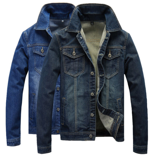 SU147 New Men's Jeans Biker Bomber Button Jacket Casual Short Denim Outerwear