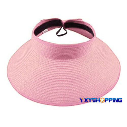 Womens Wide Brim Sun Visor Hat Foldable Roll Up Travel Summer Beach Straw Cap