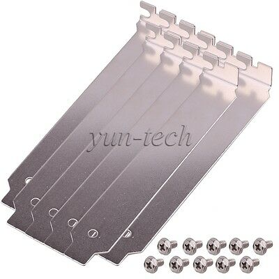 10pcs Stainless Steel Full Profile Expansion Flat PCI Slot Covers Plate Silver