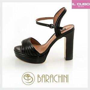 online retailer 75a33 0f35b Dettagli su LUCIANO BARACHINI SANDALO SCARPA DONNA PELLE COLORE NERO TACCO  H 12 CM