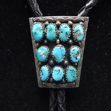 Vintage NAVAJO Stamped Sterling Silver TURQUOISE Cluster BOLO Tie, Leather Cord