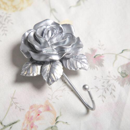 1PC Vintage Wall-mounted Rose Flower Hat Coat Hook Door Clothes Hanger Bathroom