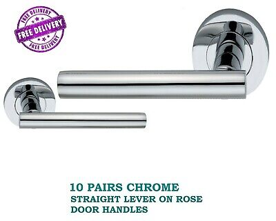 Modern Black Nickle T BAR DOOR HANDLES on Round Rose STRAIGHT HANDLE Knobs D15