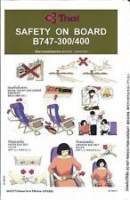 Safety Card - Thai Airways - B747 300 400 - 2000  (S3750)