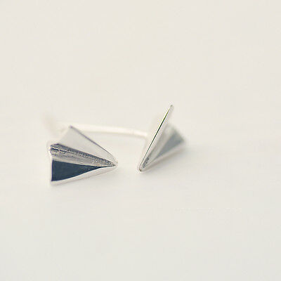 925 Sterling Silver Paper Airplane Silver Stud Earring 878