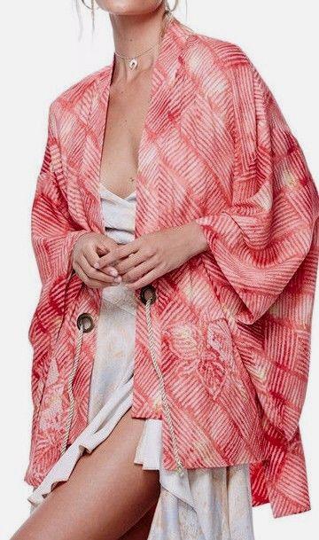 FREE PEOPLE OB571339 Shibori Print Kimono in Coral Combo, One Size Fits Most