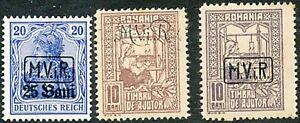 DEUTSCHE MILITÄRVERWALTUNG IN RUMÄNIEN 1917/18 ungebr. Kab.-Lot 3 Marken ABART
