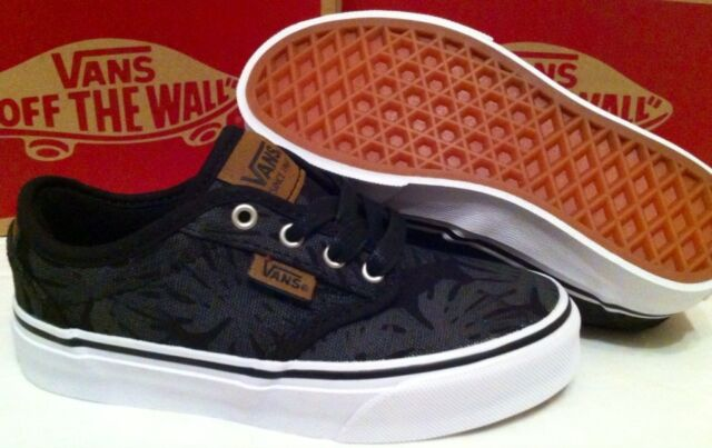 1bd7f7ab13075f New Boys Vans Atwood Deluxe Palm Leaf Canvas Black Trainers UK 10