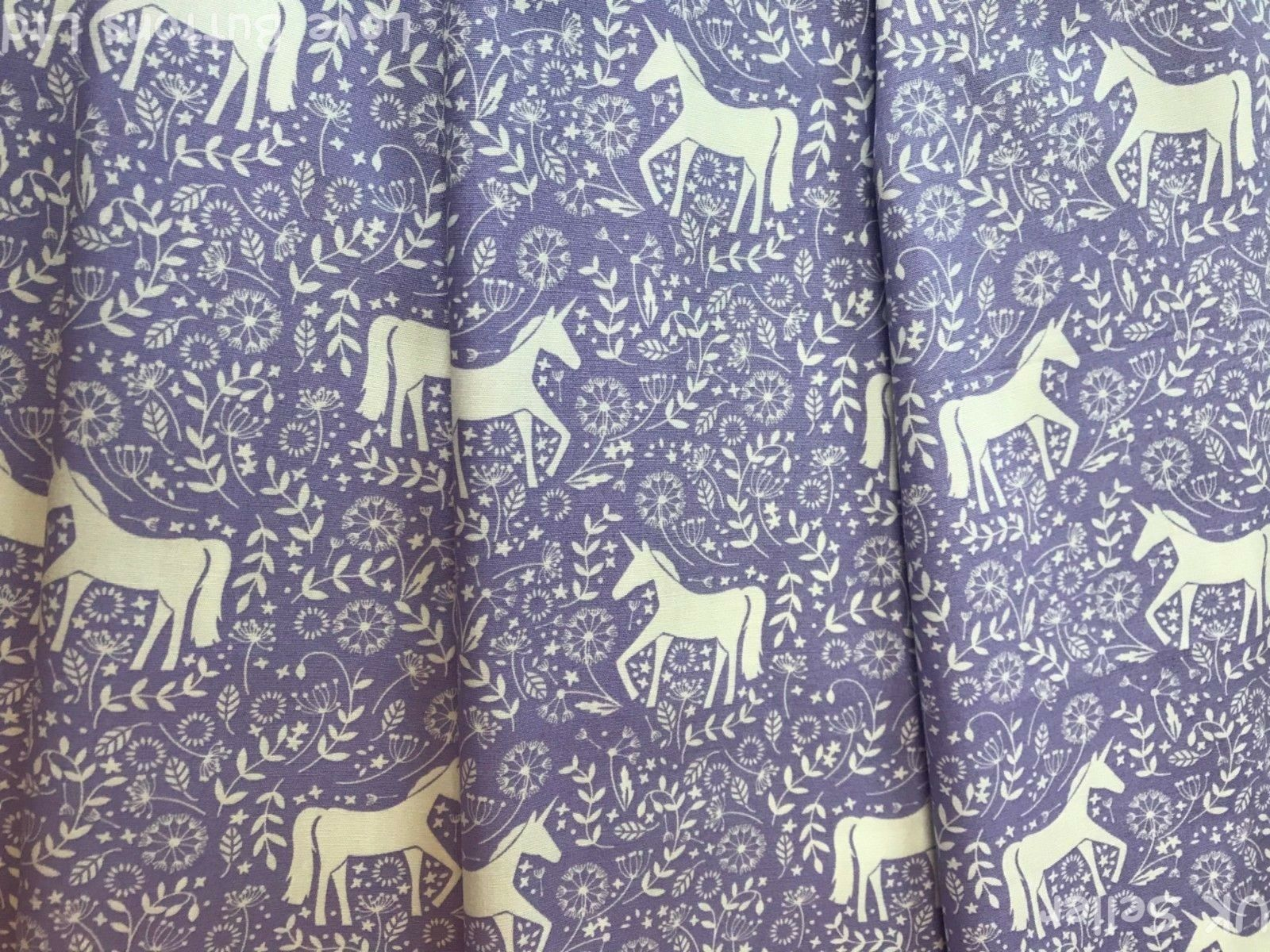 JOHN LOUDEN LILAC UNICORN AND FLOWERS FABRIC 100/% COTTON 112CM WIDE PER METRE