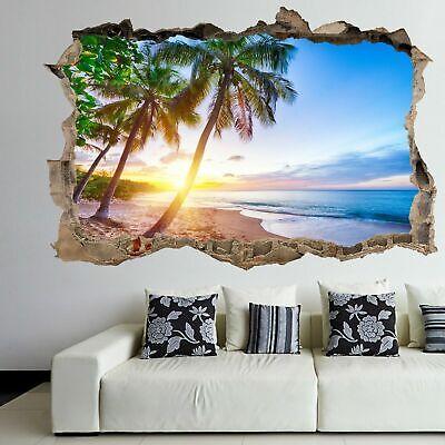 Sunset,Beach,Wall Art,Sticker,Bedroom,3D,Scenery,Decal,Mural