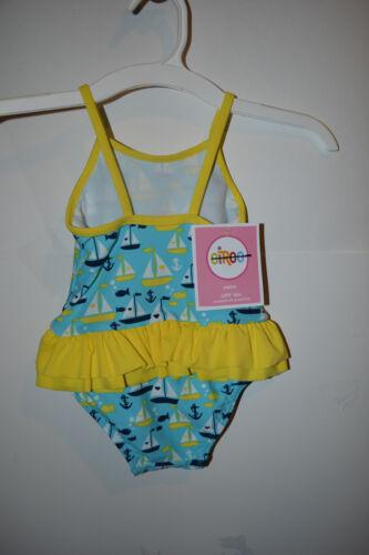 Circo Girls Infant  One Piece Swimsuit Tutu 9M Or 12M 2T NWT UPF 50+Boats Aqua