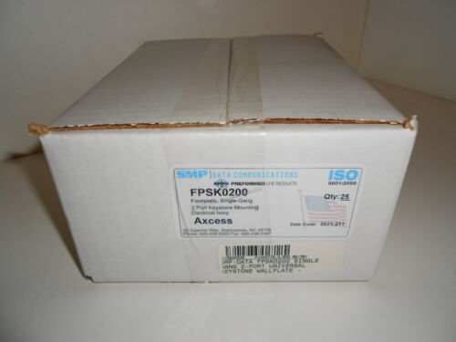 BOX OF 50 NOS SMP IVORY SINGLE GANG 2 PORT KEYSTONE MOUNT FACEPLATES FPSK0200