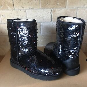 53b345d7ae4 Details about UGG Classic Short Black Sparkles Sequin Sheepskin Boots Size  US 7 Womens