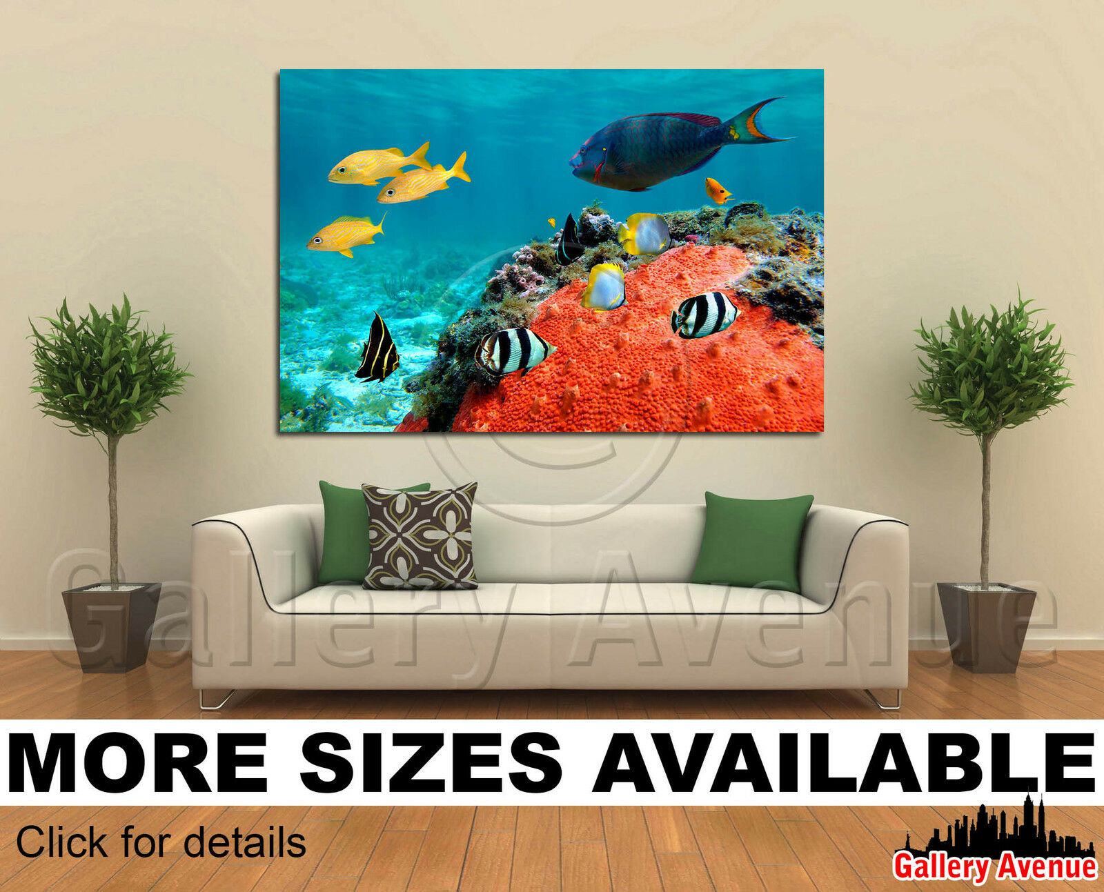 Wall Art Canvas Picture Print - Lagoon and its inhabitant, fish, coral 3.2