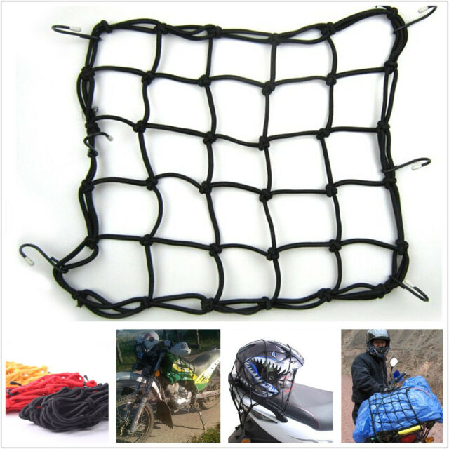 Black Square Motorcycle Tank Helmet Mesh Cargo Net Resiliency Web Cord For E-TON