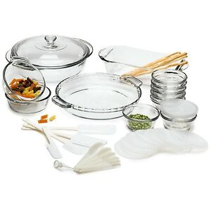 33-Piece Glass Cookware Set - Made in the USA Oven to Table Freezer ...