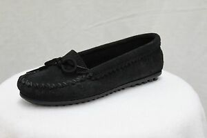 Minnetonka-Moccasin-Driving-Mocs-Black-Suede-Loafers-MSRP-55-NEW