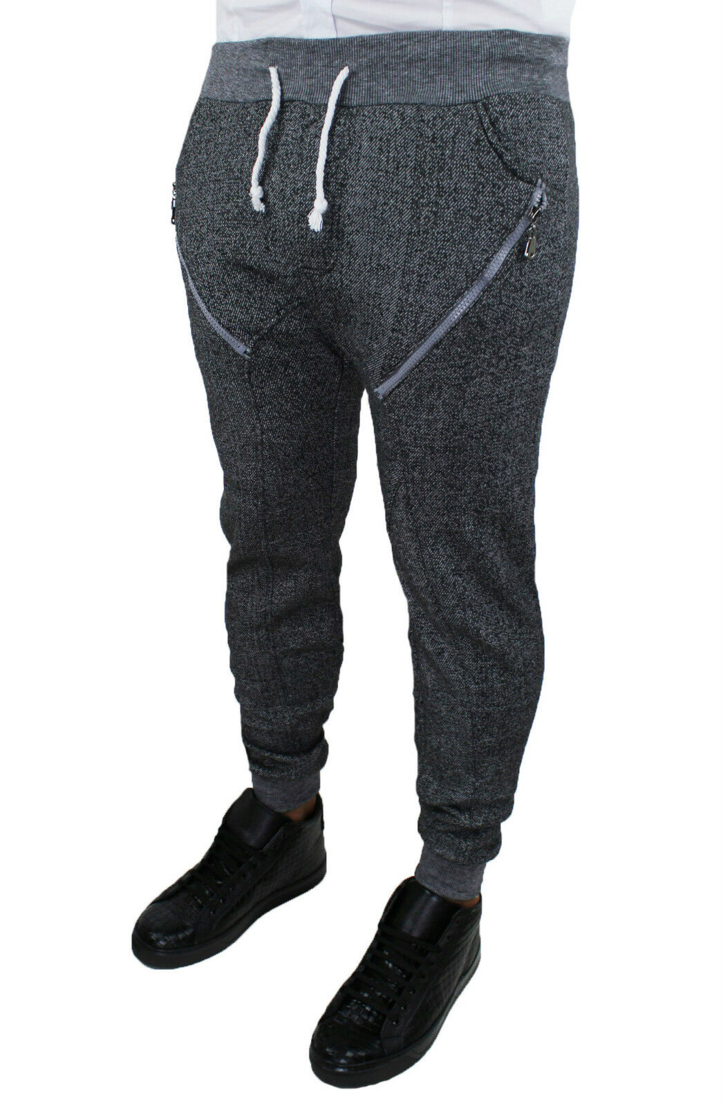 TROUSERS CASUAL MAN SLIM FIT JEANS SWEAT ZIP JUMPSUIT COTTON S M L XL XXL 3XL